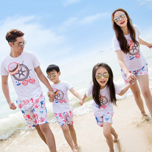 Beach family fitted summer home decoration a family of three or four cotton suits mother and daughter mother and son set недорого