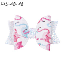 2 Pcs/lot 3 Inch Cute Printed Hairgrips Swallowtail Glitter Hair Clips Boutique Handmade Hairbow For Girls Accessories