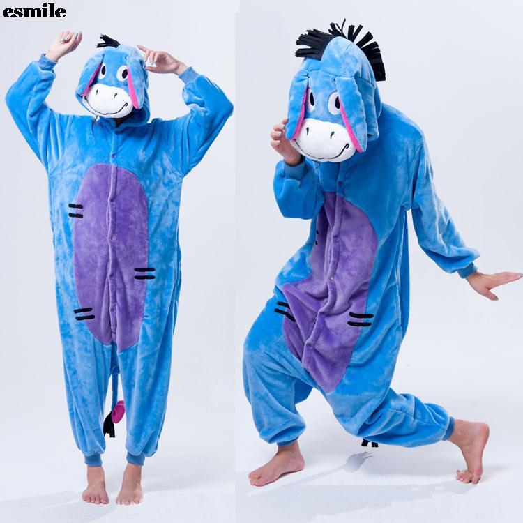 4f87445111 Pijama Pigiami Donne Flanella Animali Del Fumetto Pigiami Siamesi Elefante  Asino Uomini E Donne Amanti Vestaglia di Svago Vestiti A Casa in Pijama  Pigiami ...