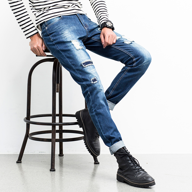 Bikers Jeans Men Brand New Autumn Men Ripped Jeans Fashion Slim Fit Denim Pants Casual Trousers Male Men Clothes Free Shipping new men s autumn elastic black brand jeans casual fashion straight cassical denim pants men slim male jeans meth pant for man