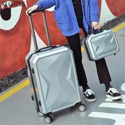 KLQDZMS 20/24/26/28 cal stylowa kosmetyczka i zestaw walizek na kółkach Spinner mężczyźni kobiet wózek walizka podróżna na kółkach w Zestawy bagażowe od Bagaże i torby na