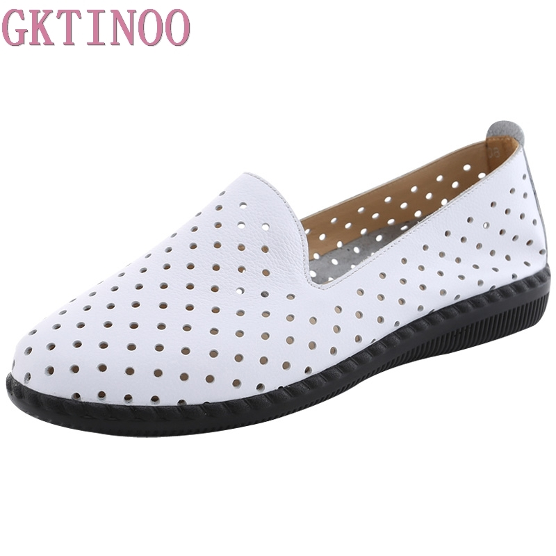 GKTINOO New 2019 Summer Ballet Flats Genuine Leather Shoes For Women Cut outs Slip on Flat
