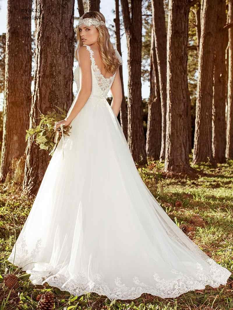 2019 סקסי חתונת שמלות ארוך V צוואר מפלגה חזרה עמוק אפליקציות Vestido דה Noiva Fotos Reales סין שמלות כלה