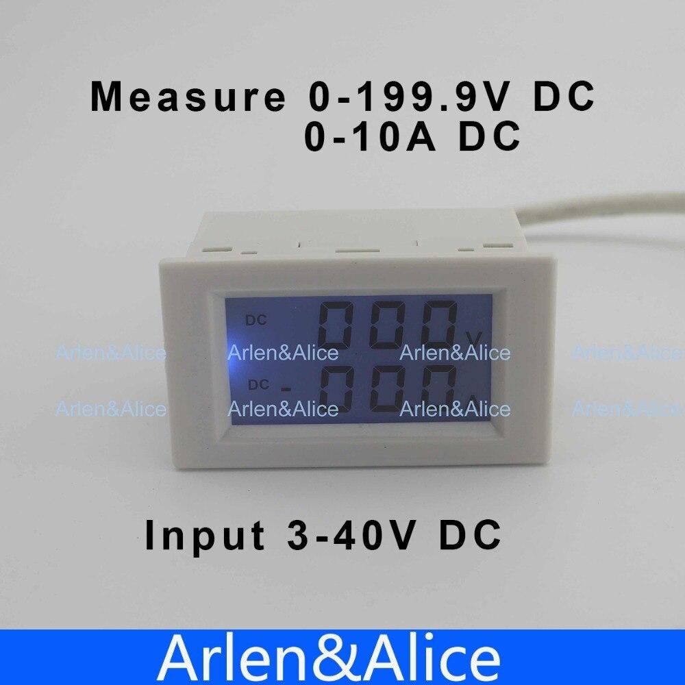 Dual LCD display DC Voltage and current meter voltmeter ammeter range DC 0-199.9V 0-10A Blue backlight DC 3~40 Input