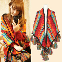 women Autumn and winter new Bohemian national wind scarf warm imitation cashmere shawls factory direct Scarves & Wraps