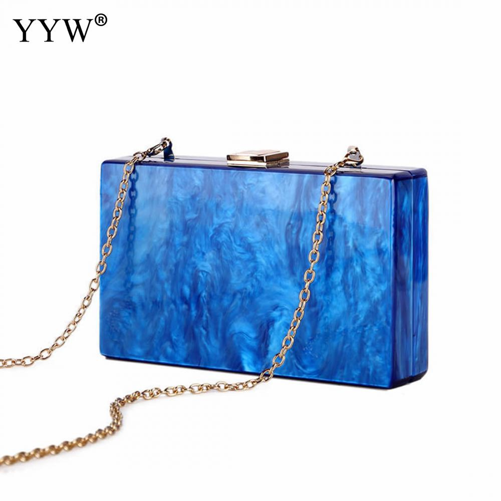 Ink pattern Female Clutch Bag Blue Women'S Evening Party Handbags And Purses Small Shoulder Bags For Women 2018 New Designer