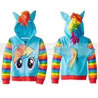 NEW Spring Autumn Kids Girls My Little Pony Wing Cosplay Zip Jacket Coat Cute Toddler Girl