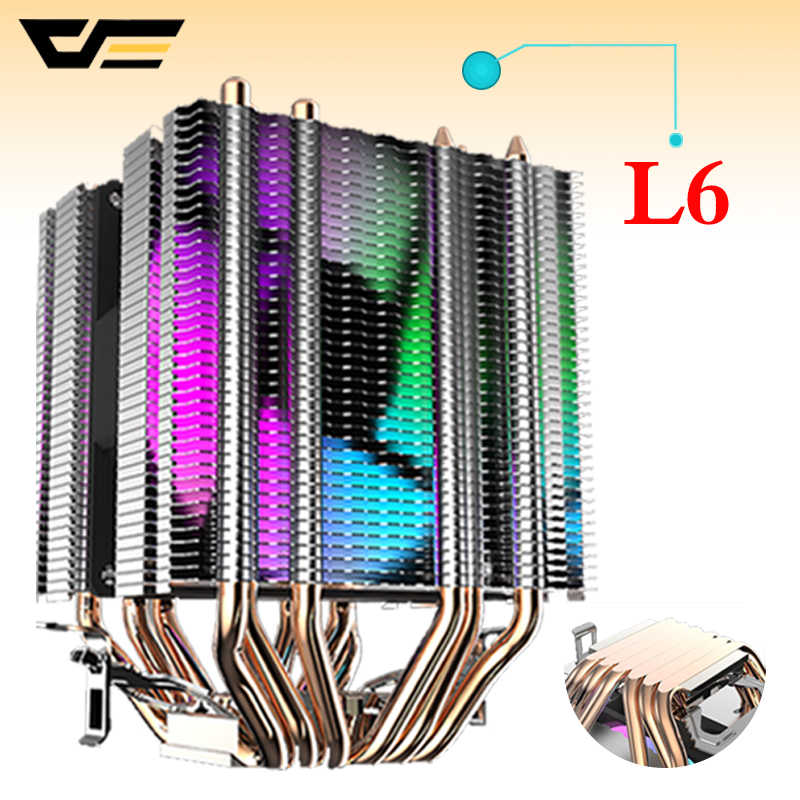 Darkflash Cpu Koeler 6 Heatpipes Met Led Fan 3pin 90 Mm Cpu Fan Voor Computer Lga/2011/775/115x/1366 AM2/AM3/AM4