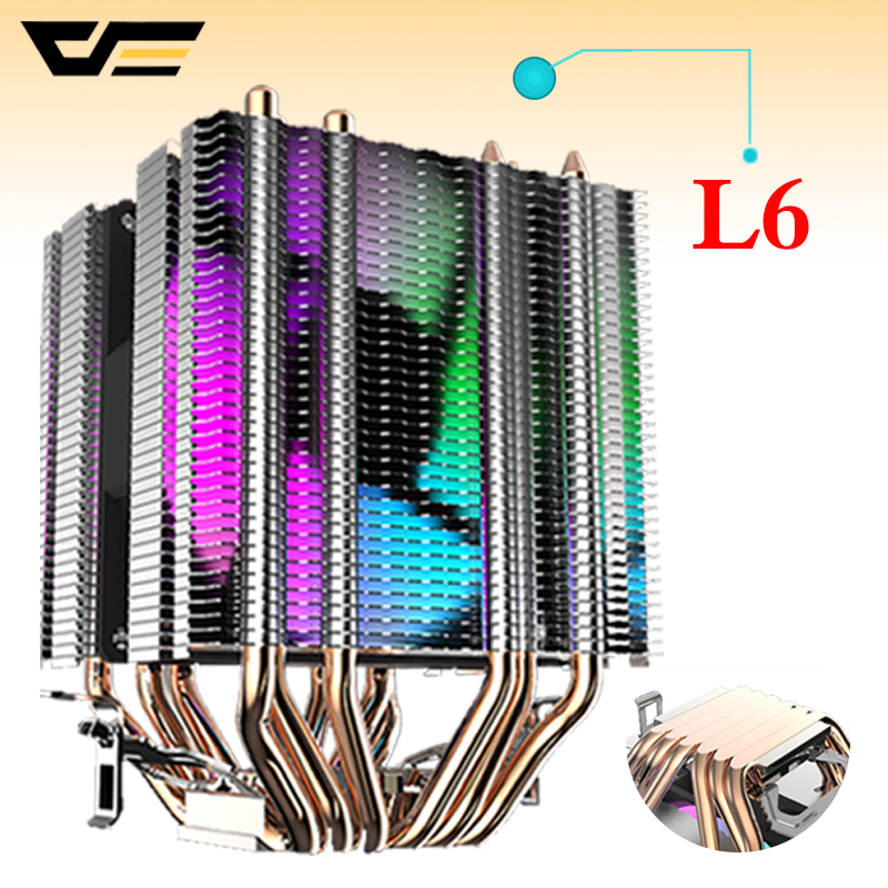 Darkflash CPU Cooler 6 Heatpipes with led Fan 3pin 90mm CPU Fan for Computer LGA/2011/775/115x/1366 AM2/AM3/AM4