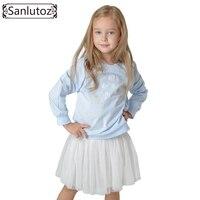 Sanlutoz Children Clothing Set Winter Toddler Girl Kids Clothes Autumn Tracksuits Fashion Brand Tshirt Tutu 2pcs