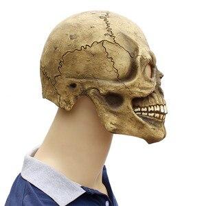 Image 4 - Реалистичная страшная маска черепа на всю голову, латексная, страшная маска призрака, маска для Хэллоуина вечерние костюм, реквизит для косплея, забавный, для взрослых, один размер