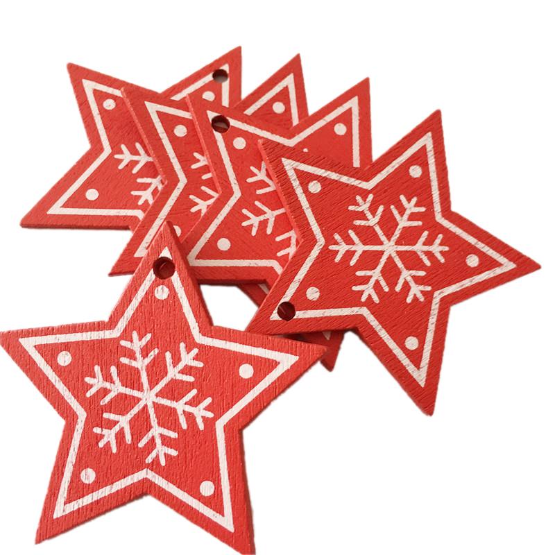 New Year 2020 Christmas Snowflake Wooden Pendant Xmas Tree Decorations for Home Wood Hanging Crafts Navidad 2019 Noel Natal Deco 28