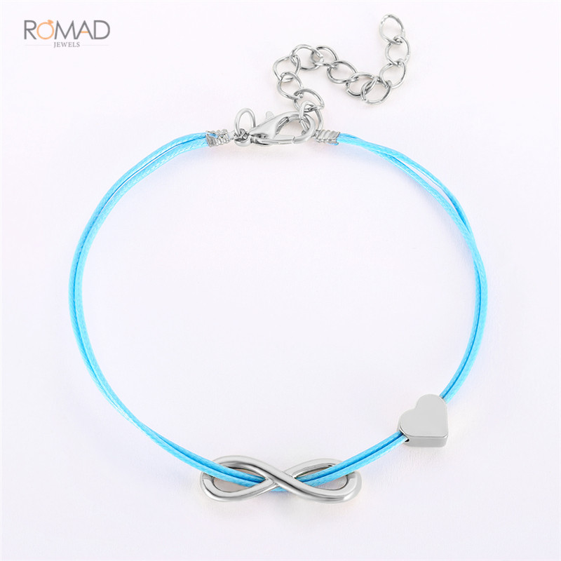 Romad 2019 New Silver leather Bracelets For Women Men Infinity Heart Couple Bracelet Charm Jewelry Gift Adjustable Bangle W3 in Charm Bracelets from Jewelry Accessories