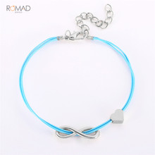 Romad 2019 New Silver leather Bracelets For Women Men Infinity Heart Couple Bracelet Charm Jewelry Gift Adjustable Bangle W3 gvusmil alabama red white multi strands infinity silver color charm leather bracelet bangle for women fashion jewelry