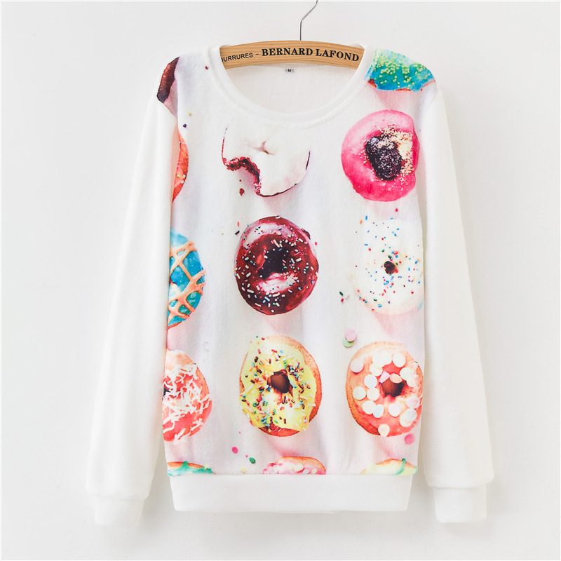 19 winter base warmth Harajuku floral print flannel pullover loose women's sweater ladies 25