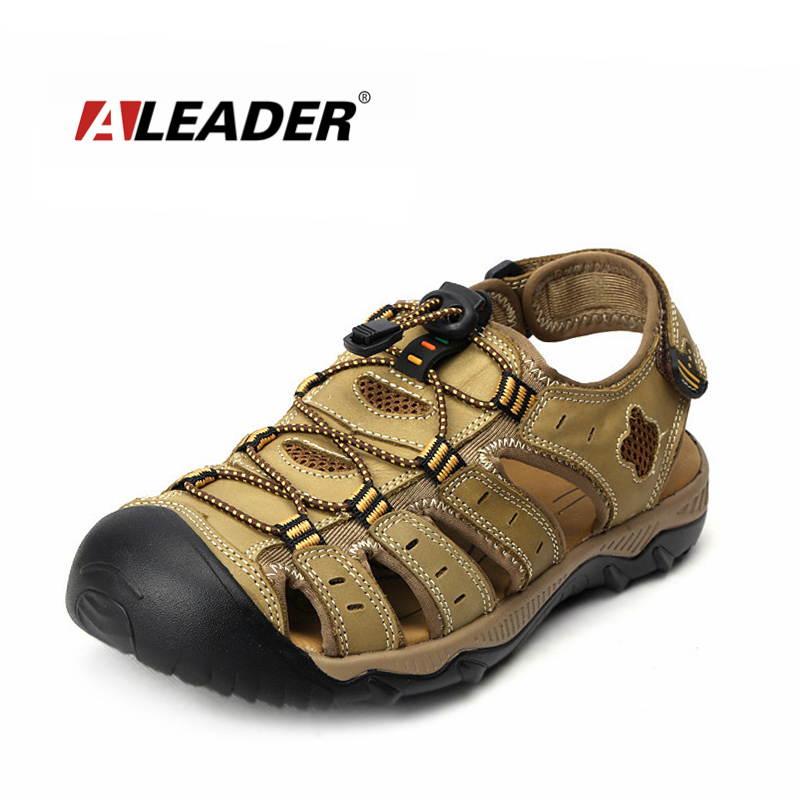 Aleader Mens Leather Outdoor Sandals New 2017 Summer Outdoor Shoes Sport Sandals Men Breathable Beach Slippers