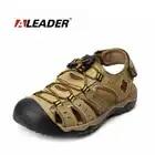 Aleader hommes en cuir en plein air sandales nouveau 2017 été en plein air chaussures Sport sandales hommes respirant plage pantoufles en cuir sandales