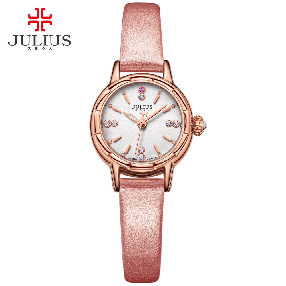 JULIUS Klocka 2017 New Designer Armbandsur Mode Läder Rem Kvarts Watch Klockor Klockor Topp Märke Silver Rose Gold JA-908