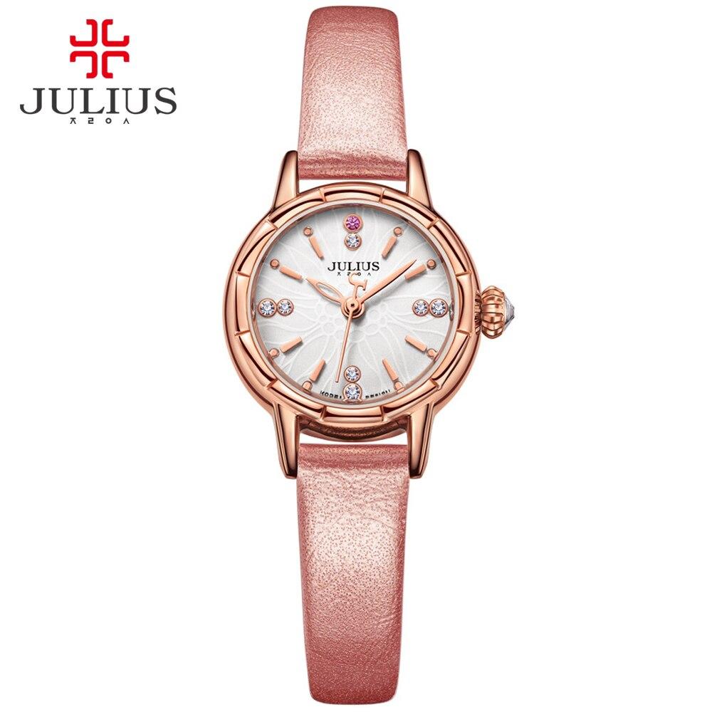 Reloj JULIUS 2017 Nuevo reloj de pulsera de diseñador de moda correa de cuero reloj de cuarzo relojes de mujer de marca superior plata oro rosa JA 908-in Relojes de mujer from Relojes de pulsera    1