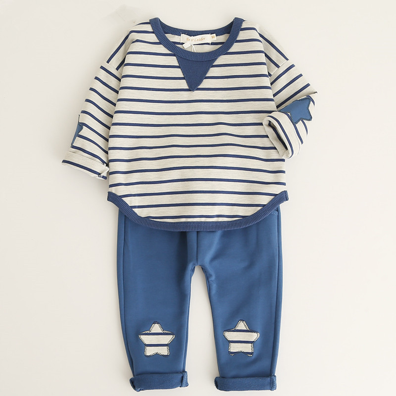 2017 Children Suits Boys Girls Baby Striped Cartoon Tops+ Pants Cute 2 Pieces Set Kids Cotton Confortable Suits For 0.5~3 Years