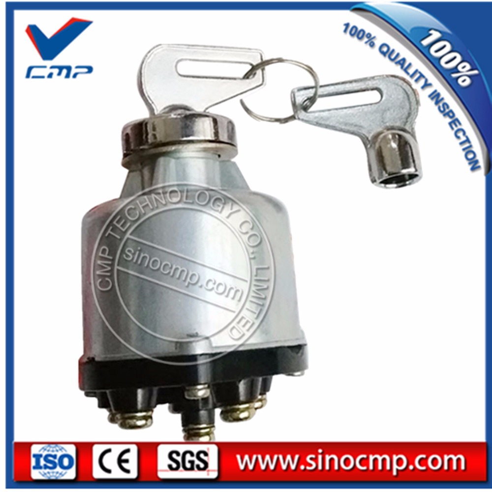 SINOCMP Ignition Switch 007SS-54-3 with 2 Keys for Excavator Digger Spare Parts