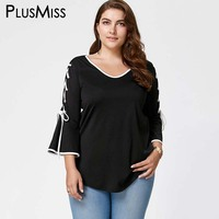 Plus Size 5XL Autumn 2017 Side Lace Up Top Flare Sleeve Blouse Shirt Women Clothes 3/4 Sleeve Tunic Loose Big Size Black