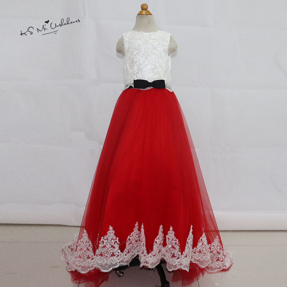 Beautiful Red And White Wedding Dress: Robe De Soiree Enfant Fille White Red Sequined Lace Kids