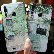Green Street leaf cat illustrat Emboss case For Huawei Nova 5 Pro, 5i,nova 4,nova 4e(P30 Lite),nova 3e(P20 lite) nova 3 cover