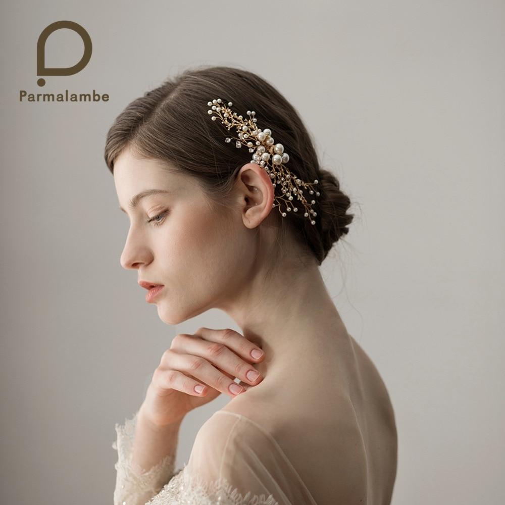 Parmalambe Flexible And Bendable Handmade Gold Hair Combs Petite Rhinestone Pearls Bridal Headpieces Wedding Hair Accessories цена