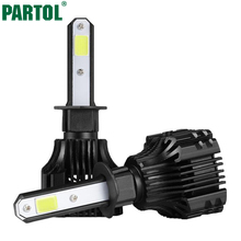 Partol S5 H1 Car LED Headlights 72W 8000LM COB Auto LED Headlight Bulbs Single Beam 6500K LED Car Front Bulb Automobile Headlamp