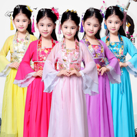 2019 Traditional Chinese Dance Costumes For Girls Children Ancient Fairy Han Tang Dynasty Qing Hanfu Dress Child Kids DWY1312