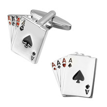 Men's shirts Cufflinks high-quality copper material Poker Silver Cufflinks 2 pairs of packaging for sale