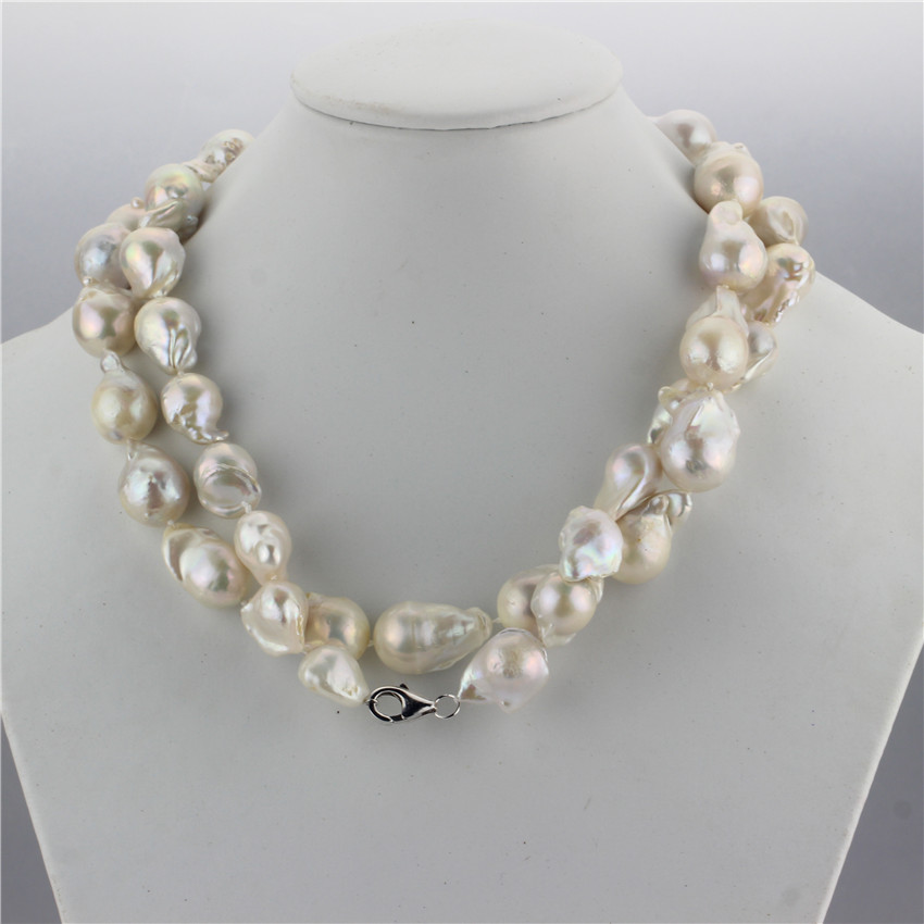 SNH 925 sterling silver clasp 100% real genuine cultured 15mm baroque natural freshwater pearl necklace jewelry design for women snh 36inches baroque 11 12mm aa real freshwater natural pearl necklace women fine necklace jewelry pearl 925 sterling silver