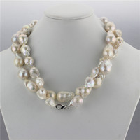 SNH 925 sterling silver clasp 100% real genuine cultured 15mm baroque natural freshwater pearl necklace jewelry design for women