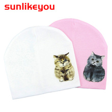 Sunlikeyou Spring Pink Girl Baby Caps For Boy Kids Cotton Soft Cartoon Cat Printing Toddler Beanie Bonnet Neonate Hat