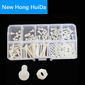 M3 White Nylon Phillips Pan Head Machine Screw Metric Thread Cross Recessed Plastic Round Head Bolt Assortment Kit Set Box