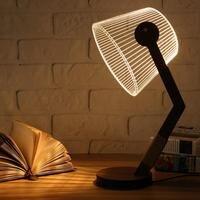 Adjustable 3D Wooden Stand Lamp Night Light Bedroom Table Desk Lamp Warm White Lighting Plug Connector