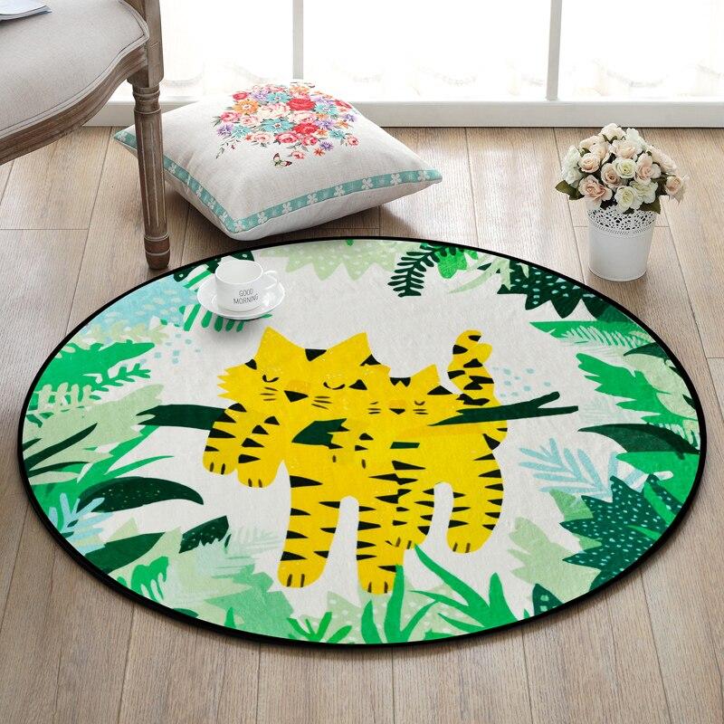 Tapis rond d'animal de bande dessinée pour des couvertures et des tapis de chaise d'ordinateur de salon - 4