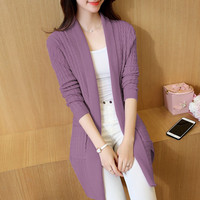 Autumn New 2016 Long Knit Cardigan Cardigan Outside The Ride Korean Slim V Neck Sweater Thick