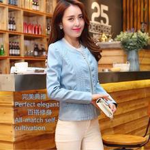 Wholesale black  brown  blue  2016 new PU leather O-neck jacket women's European stations Slim  short  jackets women w517