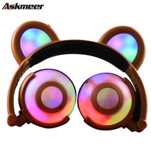 Askmeer Popular Glowing Bear Ear Gaming Headphones Foldable Flashing LED Music Headset Luminous Earphone for Mobile Phone Laptop