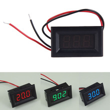 Two Wires Mini Digital Voltmeter Voltage Tester Meter LED Display DC2.5-30V Voltage Meter Detector with Reversal Protection