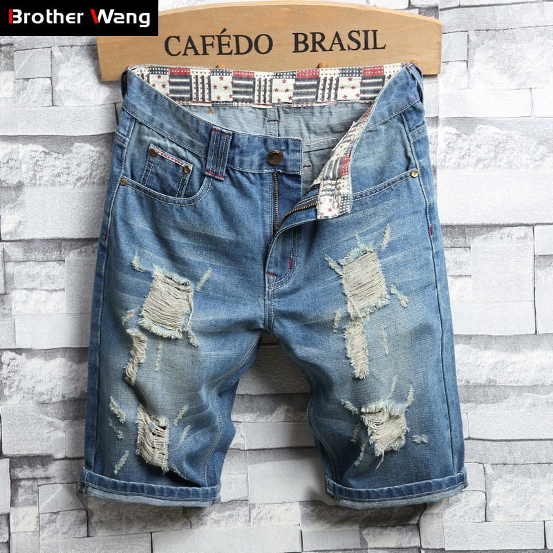 Jeans Shorts Men's Summer Casual New-Fashion Brand Blue Hole Male Ripped Vintage Slim-Fit