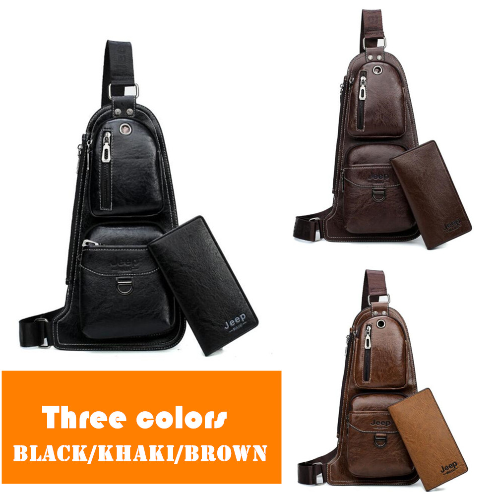 JEEP Chest Bags Famous Brand 2pcs Set Man s Leather Sling Bag Fashion  Casual New Hot Crossbody 89df899d9d180