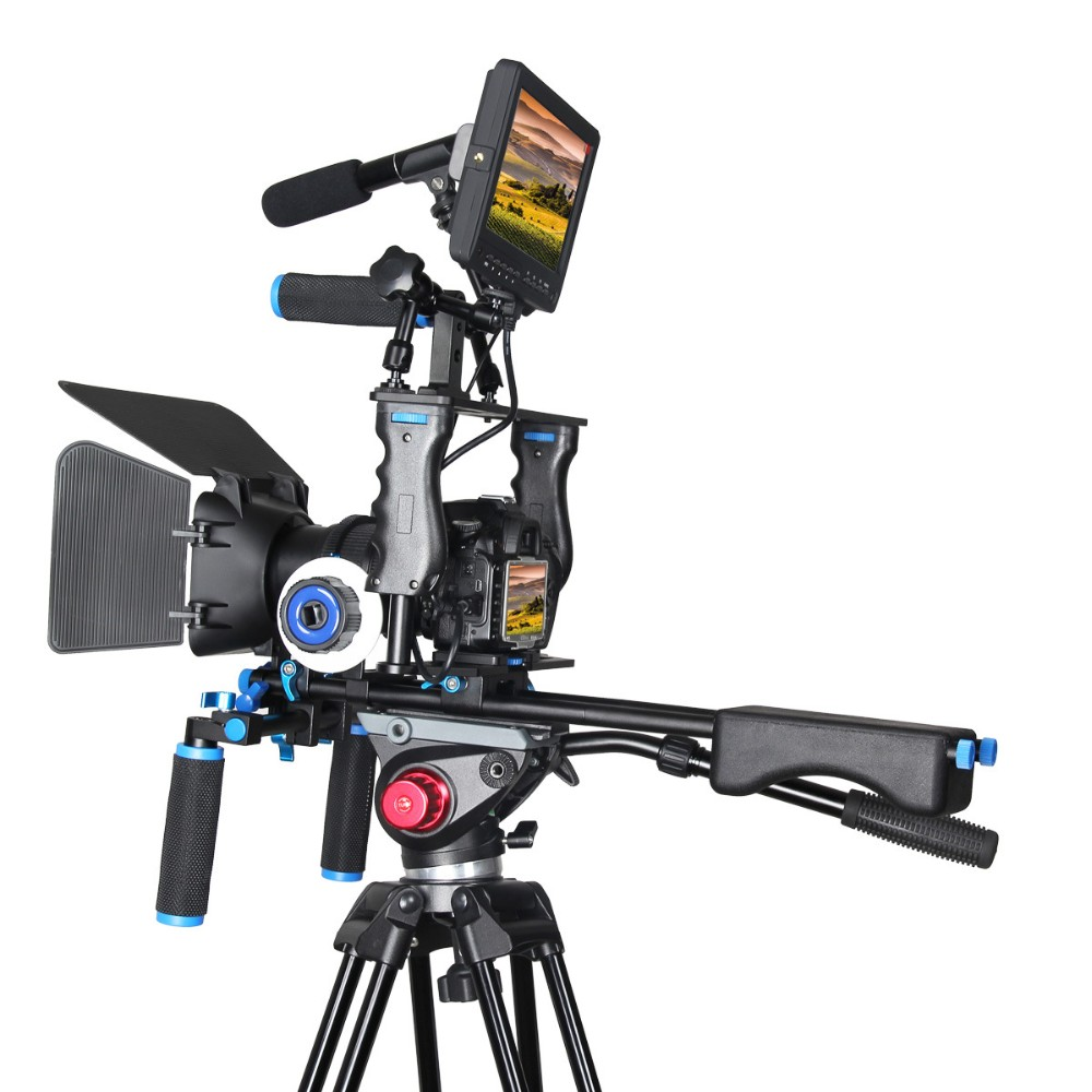 Maniglia DSLR Rig Stabilizzatore Video Camera Cage Mount Rig + Matte Box + Segue Il Fuoco per Canon 5D serio per nikon Video Camcorder
