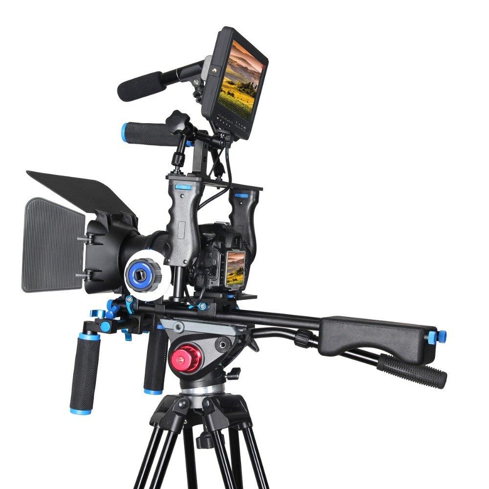 Poignée DSLR Rig Stabilisateur Vidéo Caméra Cage Mont Rig + Matte Box + Follow Focus pour Canon 5D grave pour nikon Vidéo Caméscope