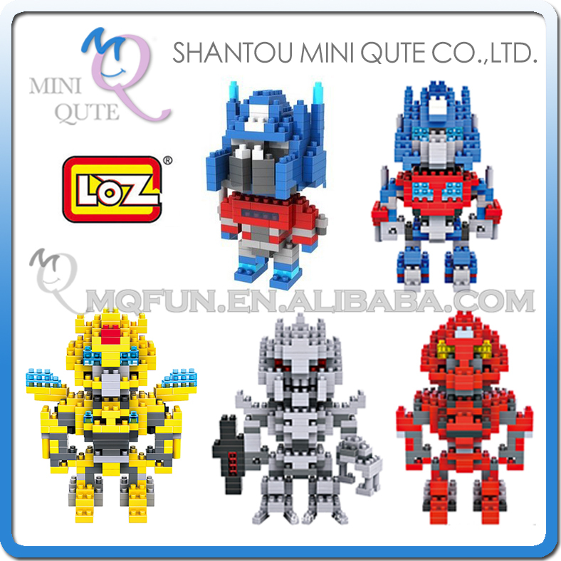 Mini Qute 5 styles 3d change robot fire fighting truck loz diamond block plastic building blocks figures educational toy for boy стоимость