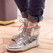 2016 Winter New Style Soft Leather Fur Boots Wool Lace-up Flat Boots Female High-top Casual Shoes Winter Snow Boots Botas Mujer