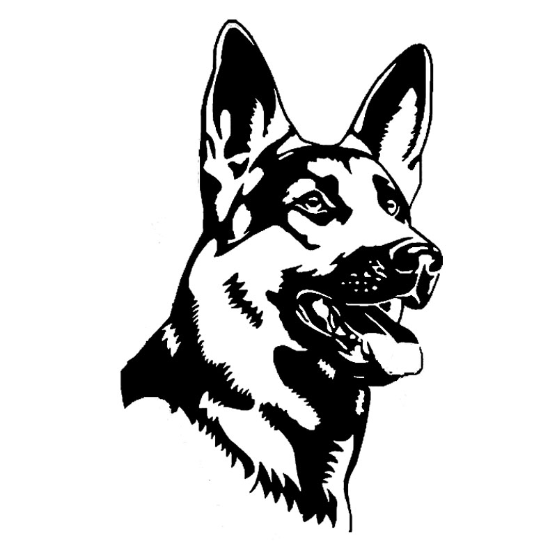 Motosiklet sticker Alman Çoban Alsation Köpek Araba Çıkartmaları Kişilik Vinil Çıkartması Araba Styling Kamyon Aksesuarları Siyah / Gümüş