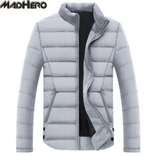 MADHERO Light Slim Men's Parkas Warm Up Windproof Winter Jacket Solid Basic Casual Outerwear Men